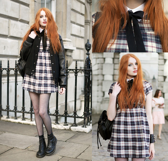 Olivia Emily - Calamity Spike Shoulder Varsity Jacket, Cut Out Of An Old Shirt Collar, Ribbon Bow, Meemee Check Dress, Topshop Backpack, M&S Fishnets, Dr. Martens Boots, Romwe Cuff Bracelet - Four.