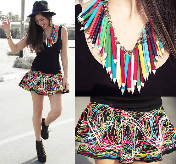 Hind Adib - Camden Town Pencils Necklace, Couch Glow In The Dark Skirt - Rainbow veins