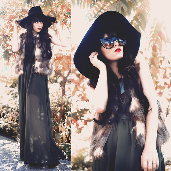 Rachel-Marie Iwanyszyn - White Crow Army Green Dress, Crossroads Trading Fake Fur Vest, Jeffrey Campbell Boots, Lack Of Color Hat, Wildfox Couture Sunglasses - GIVE ME THE COLORS.
