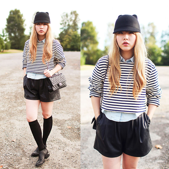 Ivy Xu - H&M Hat, American Apparel Stripe Top, Zara Shorts, Alexander Wang Booties, Chanel Bag - Casual cat walk