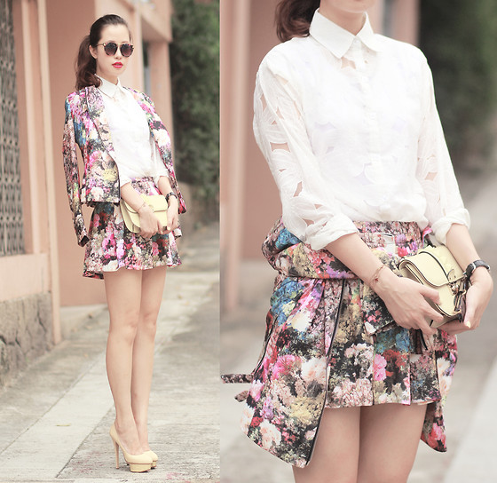 Mayo Wo - Chic Wish Retro Sunnies, Chic Wish Full Of Floral Shirt, Chic Wish Blooming Floral Biker Jacket, Chic Wish Blooming Floral Skirt, Valentino Baby Yellow Rockstud Purse, Charlotte Olympia Beige Pumps - 1000th!