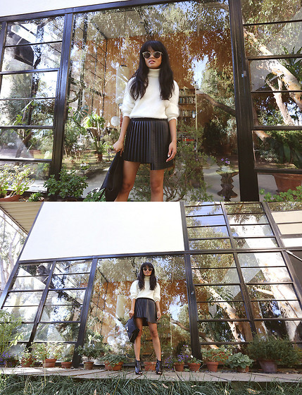 Olivia Lopez - Raen Optics Sunglasses, Again Skirt, Marciano Clutch, Marciano Bever Booties - The Eames House