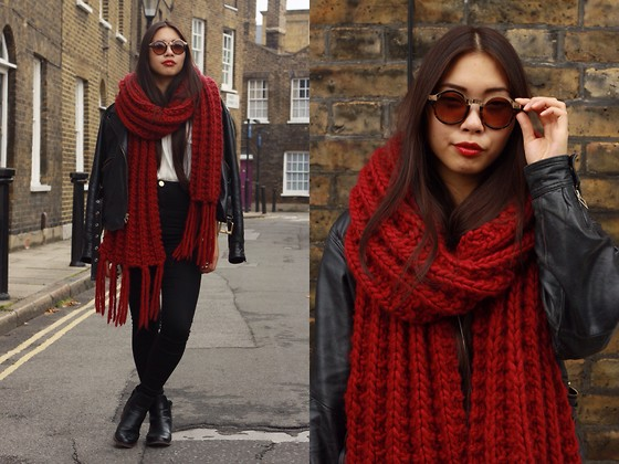 Fan Wan - Diy Red Giant Scarf, River Island High Waist Jeans, Kippie Black Leather Biker Jacket, Clarks Black Leather Boots, Brown Sunglasses -  red giant