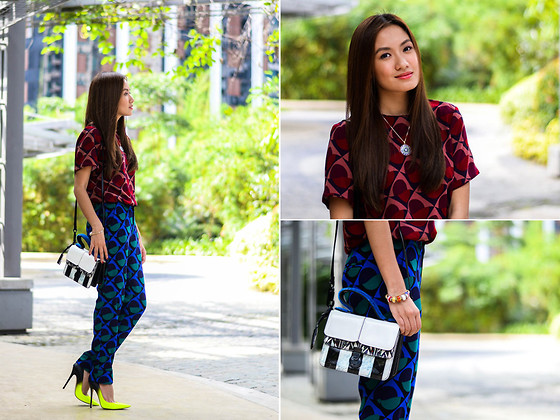 Laureen Uy - Murano Ph Necklace, Marc By Jacobs Top, Marc By Jacobs Pants, Murano Ph Bracelets, Kenzo Bag, Jimmy Choo Pumps - Prints All Over (BMS)