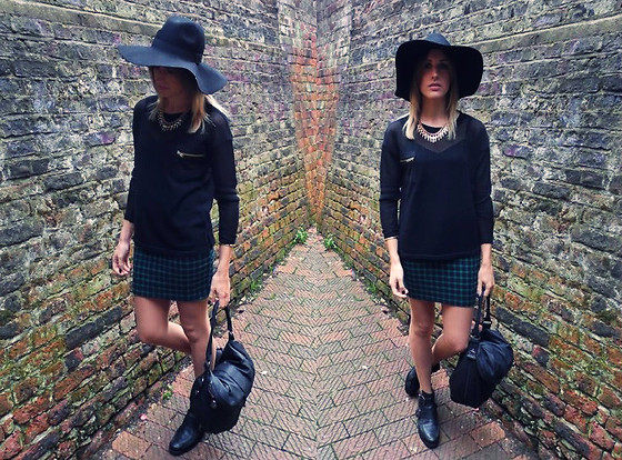 Charlotte Lewis - Ark Clothing Sheer Knit Jumper, Ark Clothing Green Tartan Print Dress, H&M Floppy Fedora, River Island Cut Out Leather Boots - Floppy Fedora & Tartan Checks