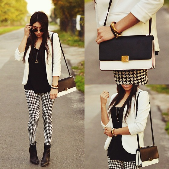 Pam S - Sheinside Jacket, Persun Bag - Black&white