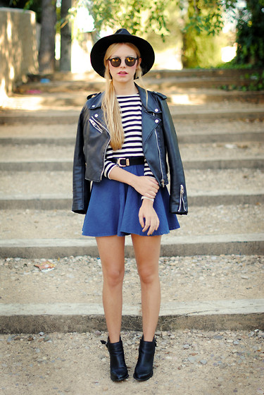 Martha Lozano - Choies Hat, Zara Crop Top, Sheinside Biker, Primark Skirt, Asos Sunglasses, Zara Boots - No me vendas la moto