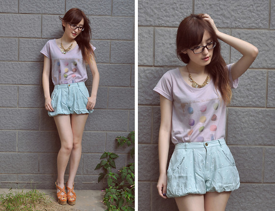 Anne King - Olive Des Necklace, We Go Harajuku T Shirt, We Go Harajuku Shorts - Macaroon Lover<3