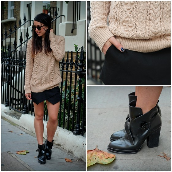 Bridg @ CalibratedChronicles.blogspot.com - Zara Knitted Sweater, Zara Ankle Boots, Zara Black Skort, Karen Walker 'Crazy Tortoise' Sunglasses - It's getting cosy