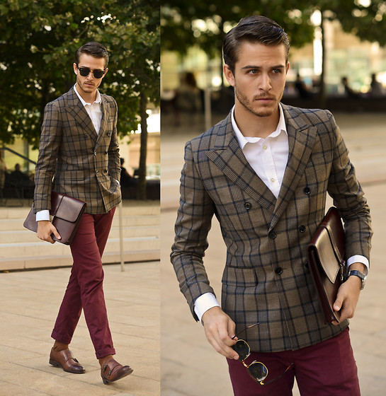 Adam Gallagher - Similar Here  > Blazer, Trousers, Shoes, Ray Ban Clubmasters, Similar Here  > Menvelope - NYFW 1