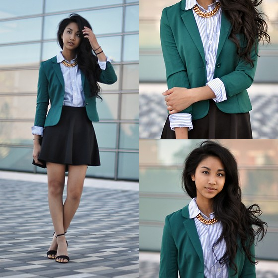 Mai Sunshine - H&M Green Blazer, Gap Button Down, Cottonon Skater Skirt, Asos Heels, Mom's Closet Chain - A Classy Affair