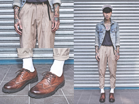 IVAN Chang - While Oxford Shoes, Tastemaker 達新美 Khaki Pants, Levi's® Vintage Jacket, Topman Black Top - 131013 TODAY STYLE