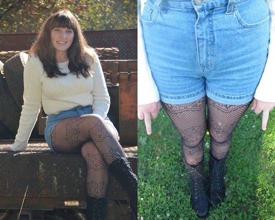 Haalen Agee - Thrifted Cream Sweater, Thrifted Tribal Tights, Velvet Boots, Thrifted High Waisted Shorts - Catch me when its fall