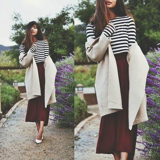 Heliely Bermudez - Nowistyle.Jp Big Knit Coat, Nowistyle.Jp Plain Long Skirt, Zara Stripe Crop Top - Sweater Weather