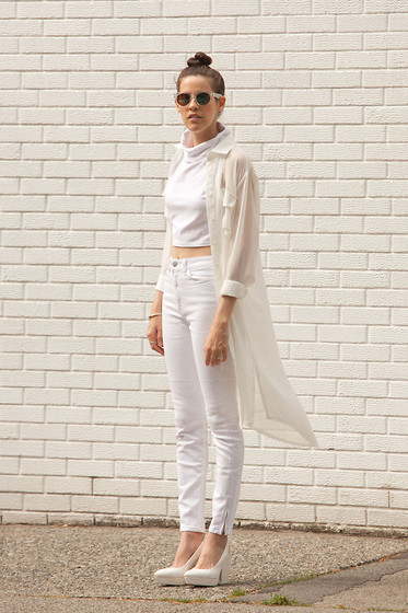 Melissa Araujo - Cyeoms Crop Top, Oak Chiffon Dress, American Apparel High Waist Jeans - White Out