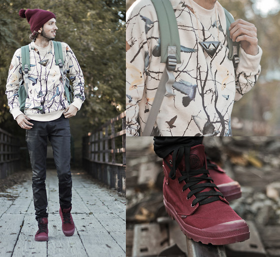 Bobby Raffin - Palladium Maroon Shoes, Urban Outfitters Graphic Pullover, Chellmy Jewellery Triangle Necklace, Electric Color Block Backpack, Res Denim Pleather Jeans, American Apparel Maroon Beanie - Feeling Adventurous