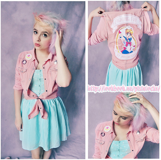 Jillian Vessey - Self Made Sailor Moon Pink Denim Jacket, Ardene Sax Blue Polkadot Bustier Dress, Various Pins (Sailor Moon, Rococco Neko, My Little Pony, Freak Lunchbox), Geek Chic Totoro Pin - ☆.* ✧ Pegasus, please, PROTECTOR OF DREAMS! ✧ *.☆