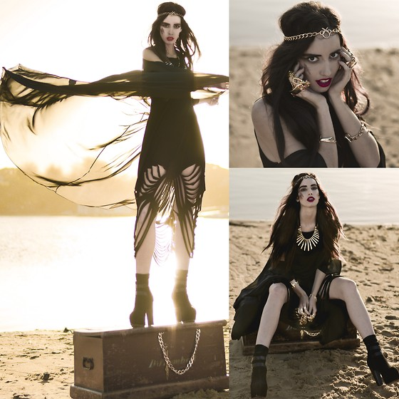 Elle-May Leckenby - Black Milk Clothing The Shredder Dress, Black Milk Clothing The Priestess, Golden Head Piece / Bracelets, Gold Strips Necklace - Her gold was her greed &it sunk her to the bottom of the sea