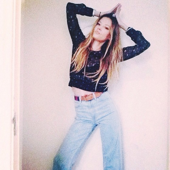 Michelle Siwy - Wildfox Couture High Waisted Denim, The Reformation Woven Belt - I am a star