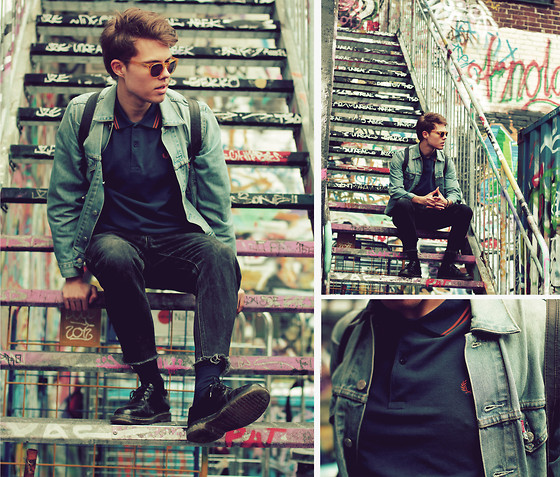 Andreas Wijk - Levi's® Denim Jacket, Fred Perry Polo, Vintage Denim, Cos Bag, Dr. Martens Shoes - OCTOBER