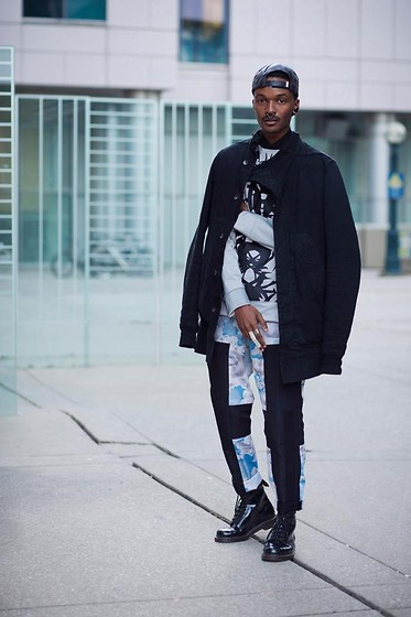 Junior S - Gyspy Sport Brimless Cap, Rick Owens Black Denim And Cotton Coat, Maria Ke Fisherman Reflective Tribal Top, Kenzo Cloud Print Pants, Dr. Martens Patent 1460 - L A B & iD - Blue skies and reflective linings!