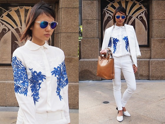 Rachel Eng - Blue White Embroidered Shirt - Let's Talk Business