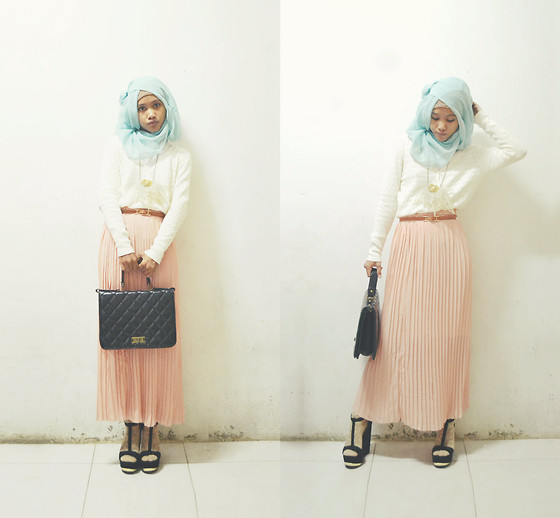 Pramita Handarini - Peach Pleated Skirt, White Crochet Sweater, Black Platform Wedges - Lined by baby colors