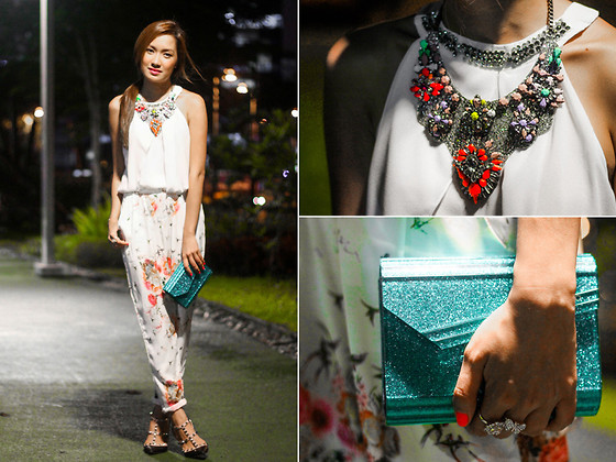 Laureen Uy - Extreme Finds Necklace, Tracyeinny Top, Tracyeinny Pants, Jimmy Choo Clutch Bag, Valentino Heels - Sparkling White (BMS)