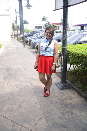 Michi Eleni Camaña - Forever 21 Button Down, Primadonna Skater Skirt, Forever 21 Red Shoes - Lady in red