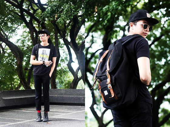 Mikyle Quizon - Brixton Cap, Energie Jeans Woman Tee, Herschel Supply Co Little America, Ray Ban Rayban Oversized, Zara Black Boots - If it's still holloween