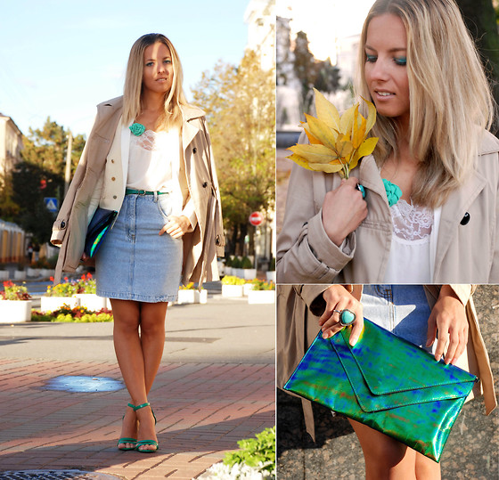 Iren P. - H&M Holographic Green Clutch, Topshop Lace Blouse, Mango Cream Blazer, Centro Green Heeled Sandals, Diy Mint Flower, Vintage Denim Skirt, New Look Nude Trench - Pop of Green