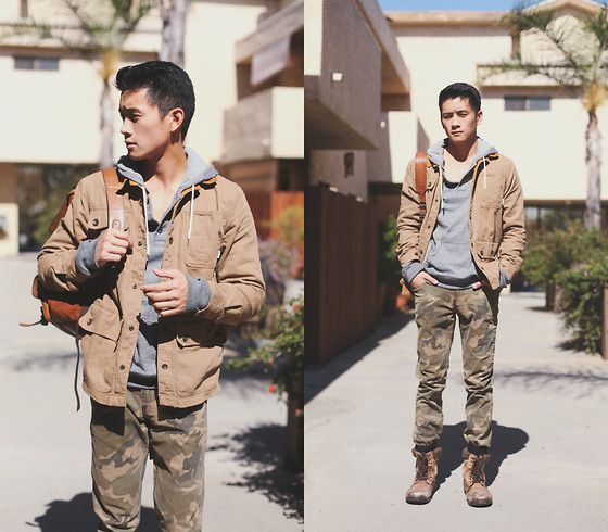 Peter Adrian - Pacsun Henley Hoodie, Vans Canvas Jacket, Coach Leather Backpack, Bullhead Camo Pants, Very.Co.Uk Boots - Southern Chill