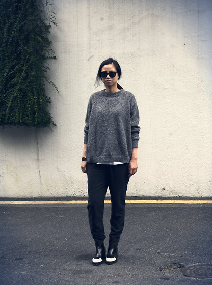 Ashely Song - Sunglasses, Sweater, Bracelets, Reike Nen Boots - Soft sweater