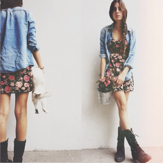 floral dress with combat boots