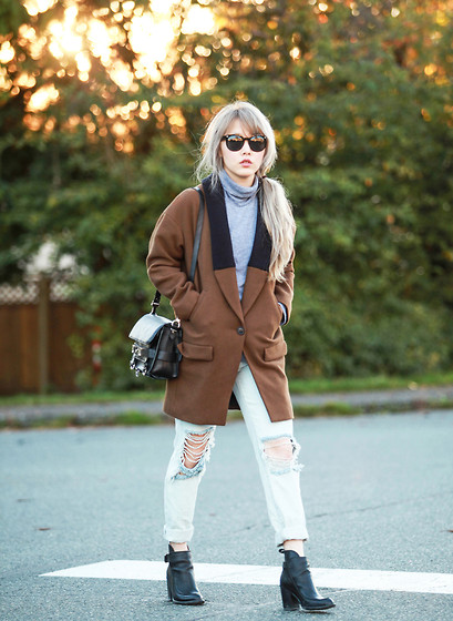 Ivy Xu - American Apparel Turtleneck, Zara Coat, American Apparel Diy Ripped Jean, Zara Boots, Proenza Schouler Bag - Ash grey and camel