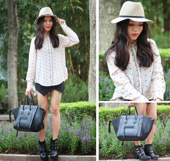 Leah Ho - Céline Phantom Bag, Detail On Blog Studded Booties, Club Monaco Print Shirt - FALL FEDORA