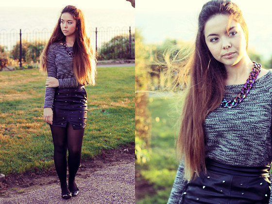 Jen Lou M - New Look Knitted Sweater, Choies Studded Skirt, H&M Tortoiseshell Flats, Primark Metallic Chain - Gwen