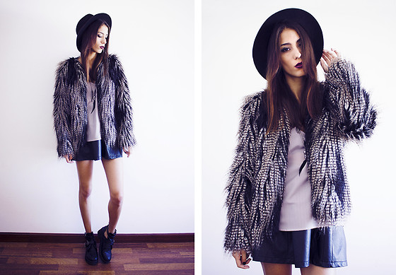 Sofia Reis - Zara Hat, H&M Jacket, Persun Top, Zara Necklace, Sheinside Skirt, Wholesale7 Boots - LITLLE WITCH