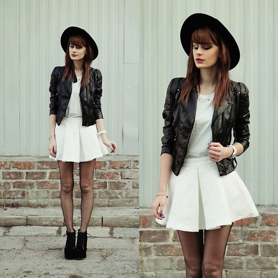 Katarzyna Konderak - Skirt, Sinsay T Shirt, Jacket, Hat, Heels - White skirt.