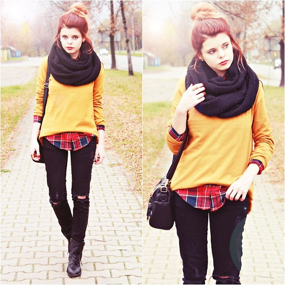 Nesairah Nesstyle - Pull & Bear Sweater, Elilu.Pl Shoes, Choies Shirt - SWEET CURRY