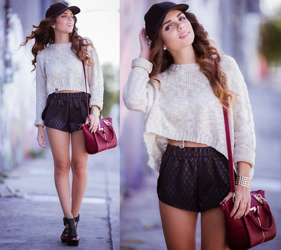 Daniela Ramirez - 2020ave Top, 2020ave Shorts, Shoedazzle Shoes, H&M Baseball Cap, Danielle Nicole Bag - Sporty leather