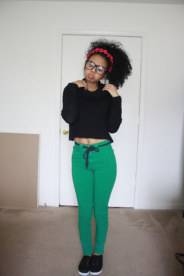Alexis Brooks - Como La Flor Floral Crown, Knit Sweater, American Apparel High Rise Pants - I'M NOT LISTENING