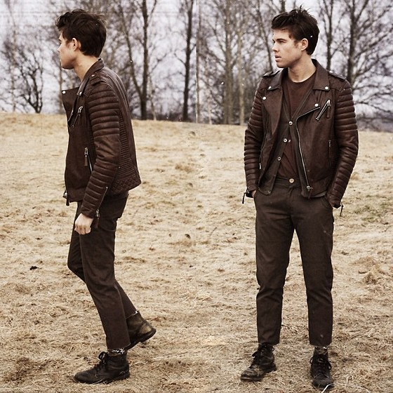 Andreas Wijk - Filippa K Cardigan, Acne Studios Sweater, Diesel Shoes, Boda Skins Leatherjacket - FALL