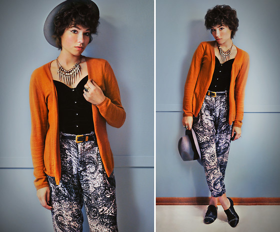 Sophia Mayrhofer - Thrifted Silver Spike Necklace, Fleamarket Cashmere Rust Cardigan, Thrifted Belt, Opitz Annex Black Velvet Bustier, H&M Grey Banded Hat, Beacon's Closet Paisley Pants, Dolce Vita Studded Brogues - Fate loves the fearless