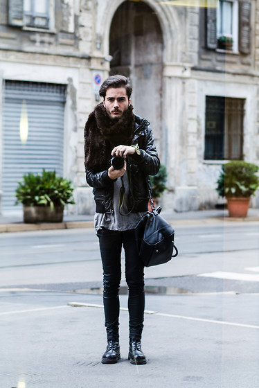 Dan Cristian G. - Zara Black Quilted Jacket, Zara Black Pants, Zara Leather Bag, H&M Grey Shirt, Army Boots, Faux Fur Scarf, H&M Bracelet - Empty streets.