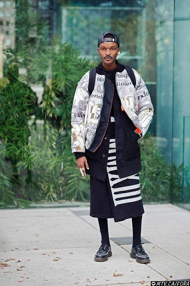 Junior S - Gypsy Sport Brimless Leather Cap, Os Accessories Bone Earring, Givenchy Septum Ring, Roberto Piqueras Logomania Bomber Jacket, Rick Owens Black Coat, Kokon To Zai Wrap Skort, Dr. Martens Black Ramsey Creepers - L A B & iD - Urban Samurai