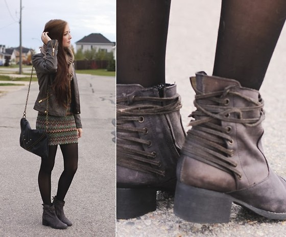 Breanne S. - Steve Madden Back Lace Up Boots, Chic Wish Circle Scarf, Matt And Nat Bag, Forever 21 Jacket - Combat Baby