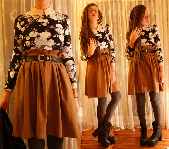 Elif & the RoseMania www.therosemania.com - H&M Blouse, Forever 21 Crop Top, H&M Skirt, Ebay Plateau Boots - BlackRoses