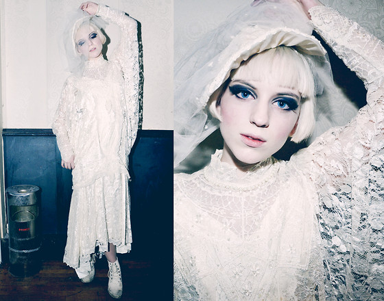 Rebecka Bjurmell - Beyond Retro Veiled Hat, Beyond Retro Wedding Dress - White Widow