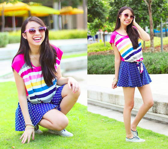 Sophie Ramos - Flattering Tops Striped Top, Aeropostale Polkadot Skirt, Keds Sneakers - Happy stripes!